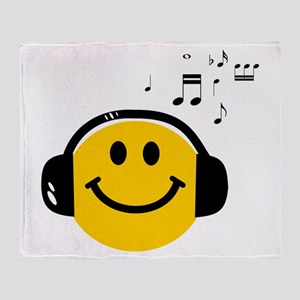 Music Loving Smiley Throw Blanket