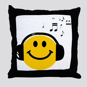 Music Loving Smiley Throw Pillow