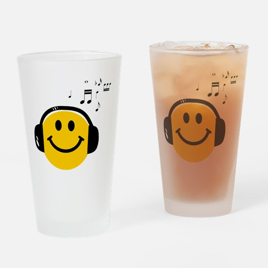 Music Loving Smiley Drinking Glass