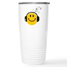 Music Loving Smiley Stainless Steel Travel Mug