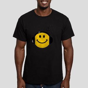 Music Loving Smiley Men's Fitted T-Shirt (dark)