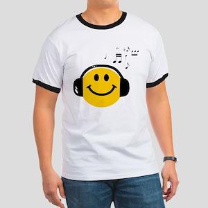 Music Loving Smiley Ringer T