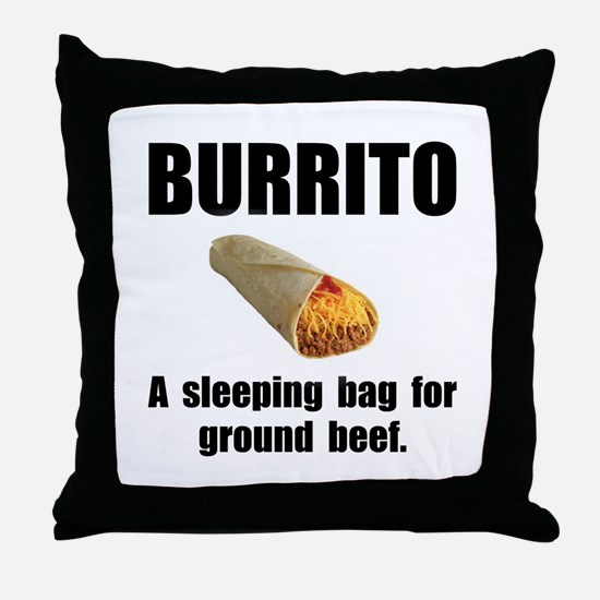Burrito Sleeping Bag Throw Pillow