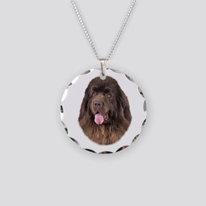 Brown Newfoundland Necklace Circle Charm