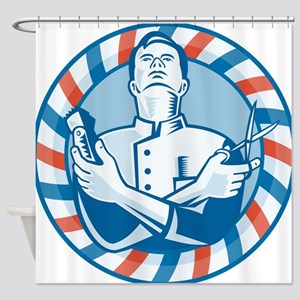 Barber With Clipper Shower Curtain