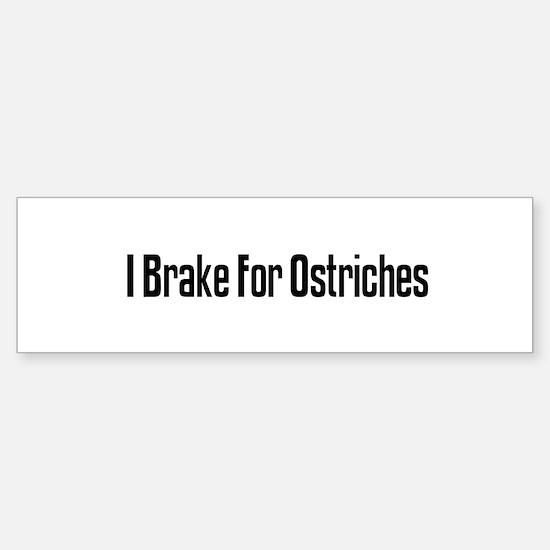 I Brake For Ostriches Bumper Bumper Bumper Sticker