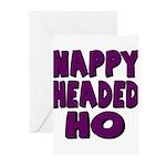 Nappy Headed Ho Purple Design Greeting Cards (Pk o