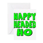 Nappy Headed Ho Green Design Greeting Cards (Pk of