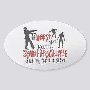 Zombie Apocalypse Waiting Sticker (Oval)