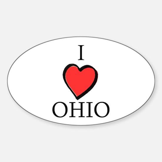 I Love Ohio Oval Decal