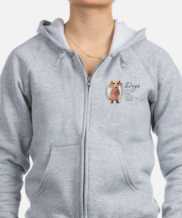 Dogs Make Lives Whole -Dachshund Zipped Hoody