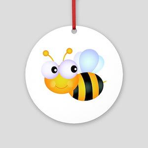 Cute Cartoon Bumble Bee Ornament (Round)