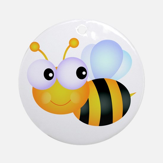 Cute Cartoon Bumble Bee Ornament (Round)