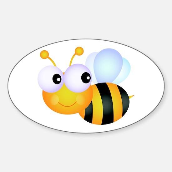 Cute Cartoon Bumble Bee Sticker (Oval)