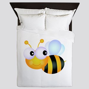 Cute Cartoon Bumble Bee Queen Duvet