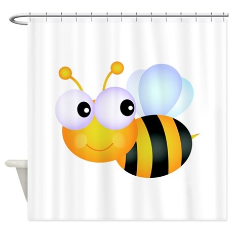 Cute Cartoon Bumble Bee Shower Curtain