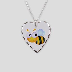 Cute Cartoon Bumble Bee Necklace Heart Charm