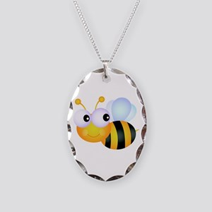 Cute Cartoon Bumble Bee Necklace Oval Charm