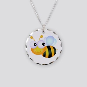 Cute Cartoon Bumble Bee Necklace Circle Charm