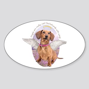 Dachshund Angel Sticker (Oval)