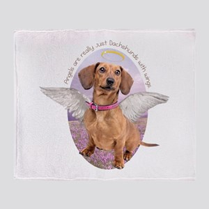 Dachshund Angel Throw Blanket