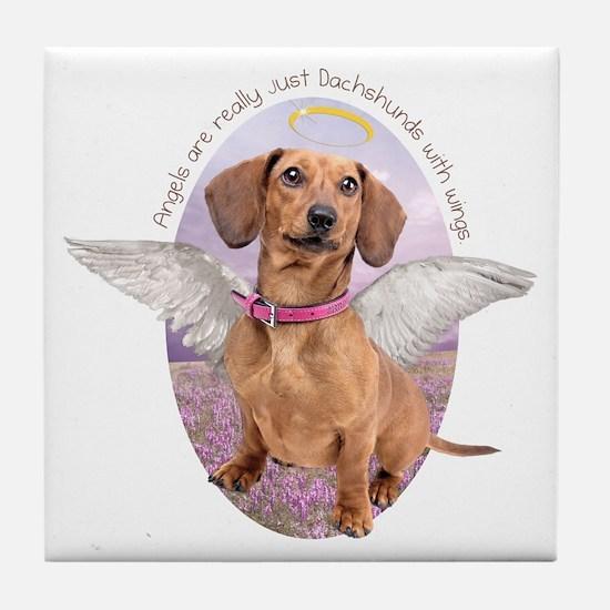 Dachshund Angel Tile Coaster