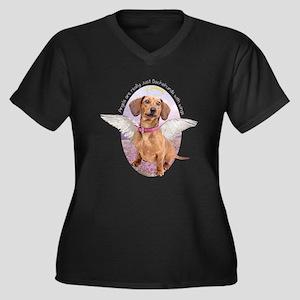 Dachshund Angel Women's Plus Size V-Neck Dark T-Sh
