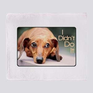 """I Didn't Do It"" Dachshund Throw Blanket"