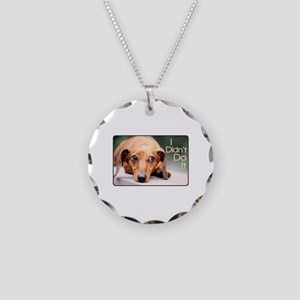 """I Didn't Do It"" Dachshund Necklace Circle Charm"