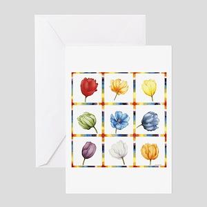Chakra Tulip Quilt Greeting Card