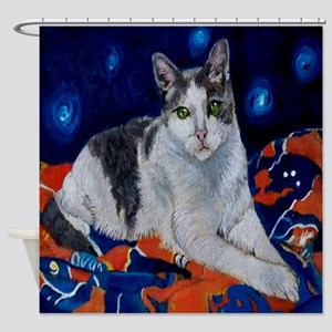 Kitty on a Blanket Shower Curtain