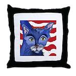 Cat 5 Celebrates the 4th Throw Pillow