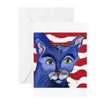 Cat 5 Celebrates the 4th Greeting Cards (Package o