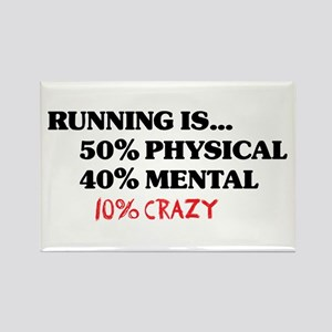 Running is... 50% Physical, 4 Rectangle Magnet