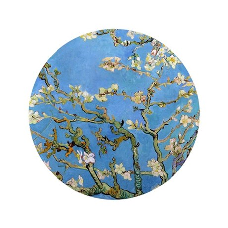 "Van Gogh - Almond Blossom 3.5"" Button"