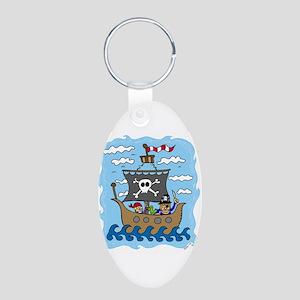 Pirate Ship Aluminum Oval Keychain