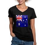 Vintage Australian Flag Women's V-Neck Dark T-Shir