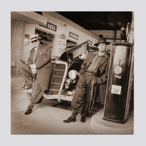 Retro 1949s Zoot Suit Gas Station Art Tile Coaster