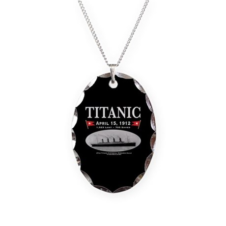 Titanic Ghost Ship (black) Necklace Oval Charm