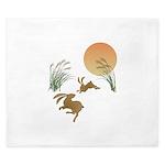 Moon, japanese pampas grass and rabbits King Duvet