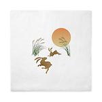 Moon, japanese pampas grass and rabbit Queen Duvet