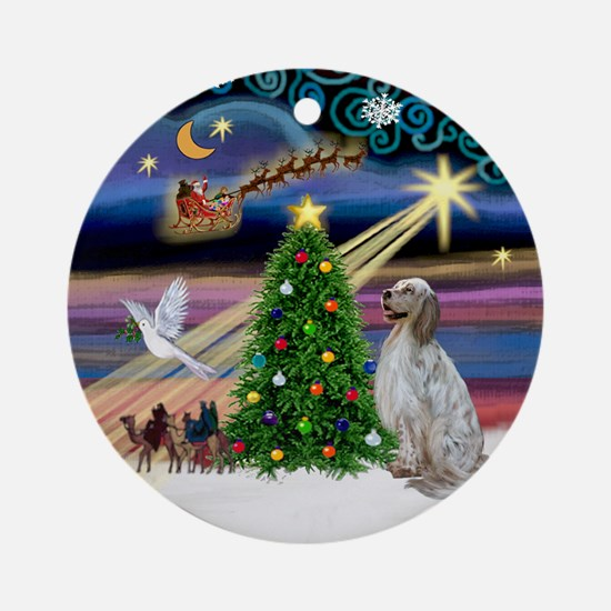 Xmas Magic English Setter Ornament (Round)