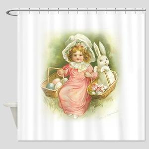 """Cute Easter Bunny"" Shower Curtain"