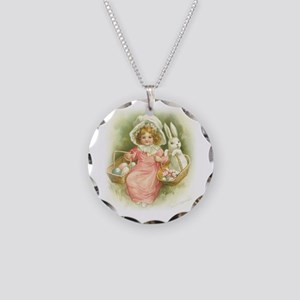 """""""Cute Easter Bunny"""" Necklace Circle Charm"""