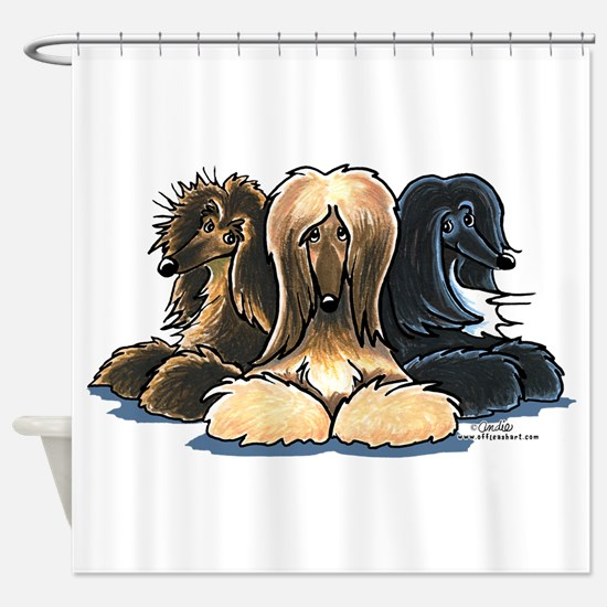 3 Afghan Hounds Shower Curtain