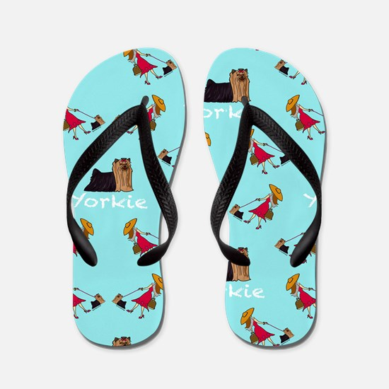 Yorkie Patern Flip Flops