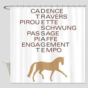 dressage speak Shower Curtain