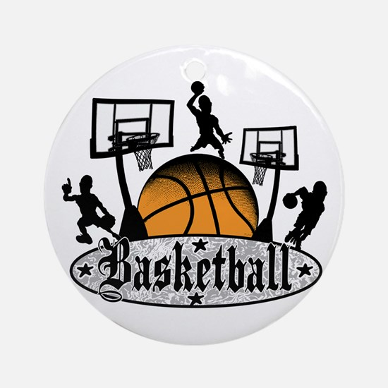 Basketball Action Ornament (Round)