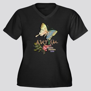 Autism: Women's Plus Size V-Neck Dark T-Shirt