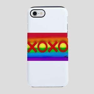 XOXO gay rainbow art iPhone 7 Tough Case